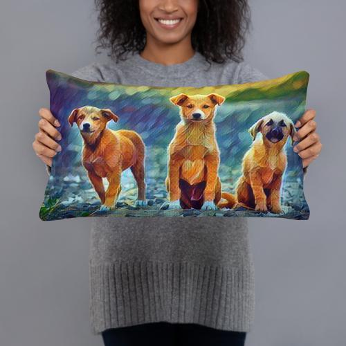 Three Amigo Puppy Art Pillow