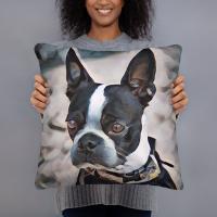 Boston Terrier Art Pillow
