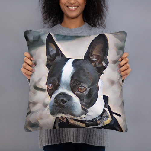Boston Terrier Art Pillow