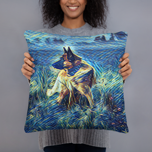 German Shepard art pillow