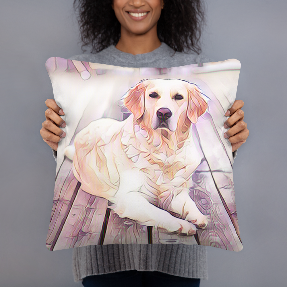Golden Retriever Art Pillow