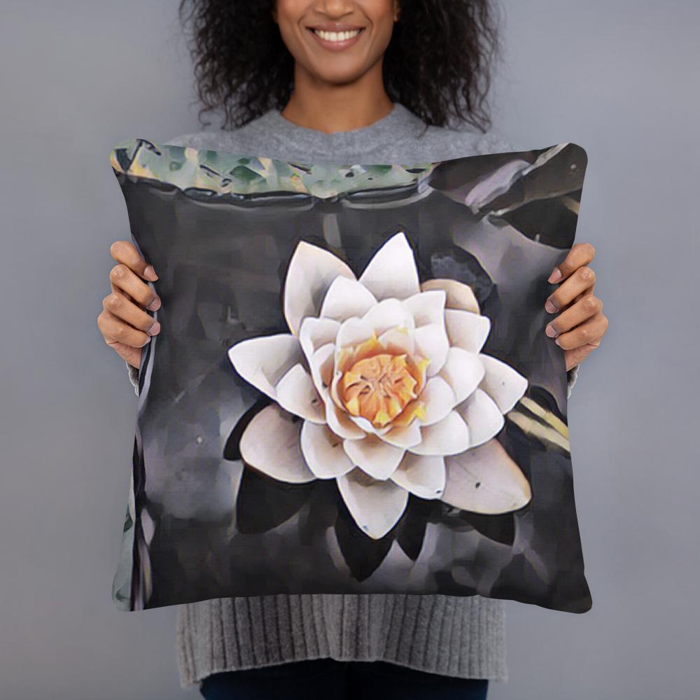 White Lotus Art Pillow