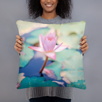 Pink Lotus Flower Art Pillow