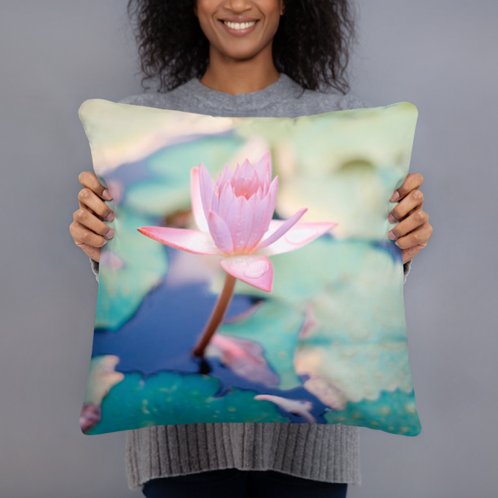 Pink Lotus Flower Art Pillow