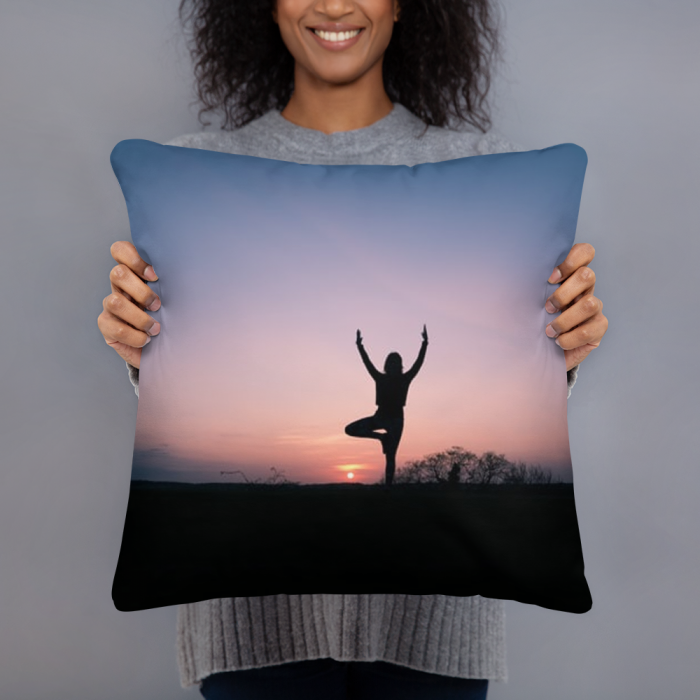 Yoga at Sunset Art Pillow