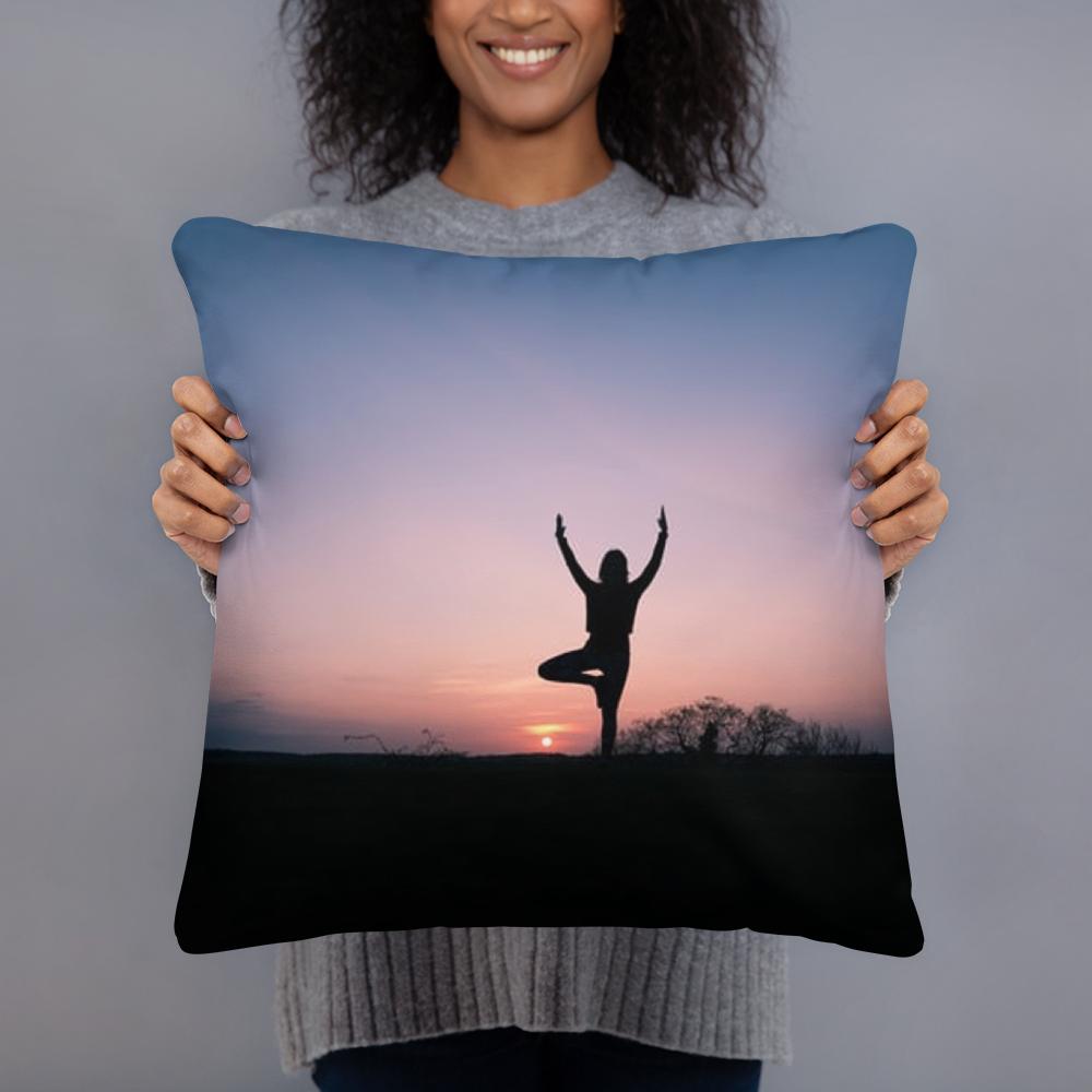 Yoga at Sunset Art Pillow